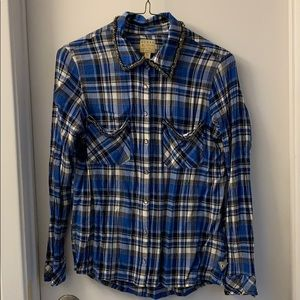 Guess checkered (blue, black & white) blouse